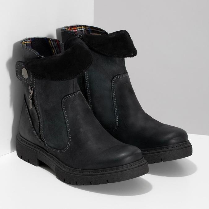 Dámská kožená zimní obuv s prošitím weinbrenner, černá, 596-6751 - 26
