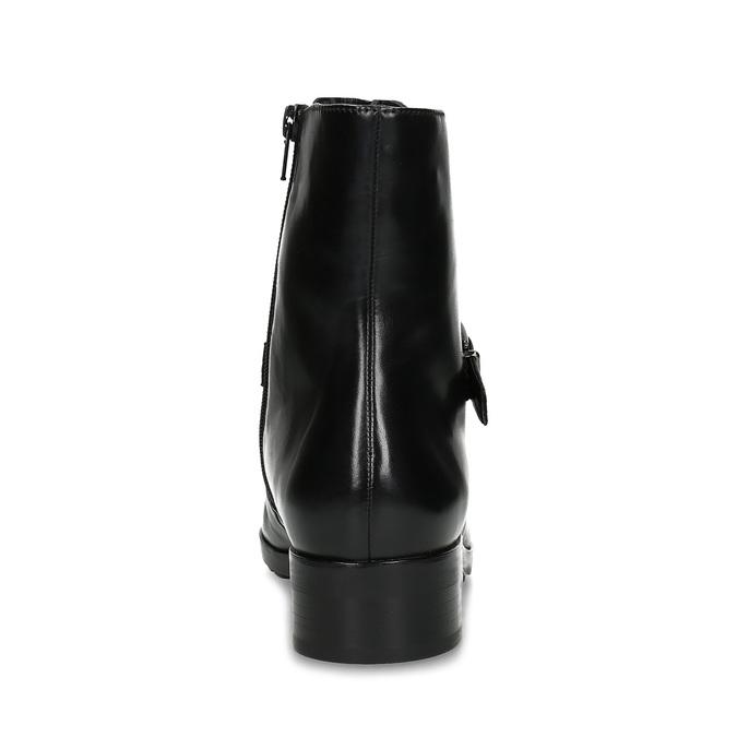 Dámská kožená kotníčková obuv s vysokým šněrováním hogl, černá, 524-6064 - 15