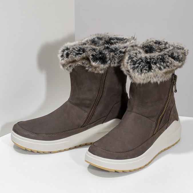 Dámské kožené sněhule hnědé weinbrenner, hnědá, 593-4603 - 16