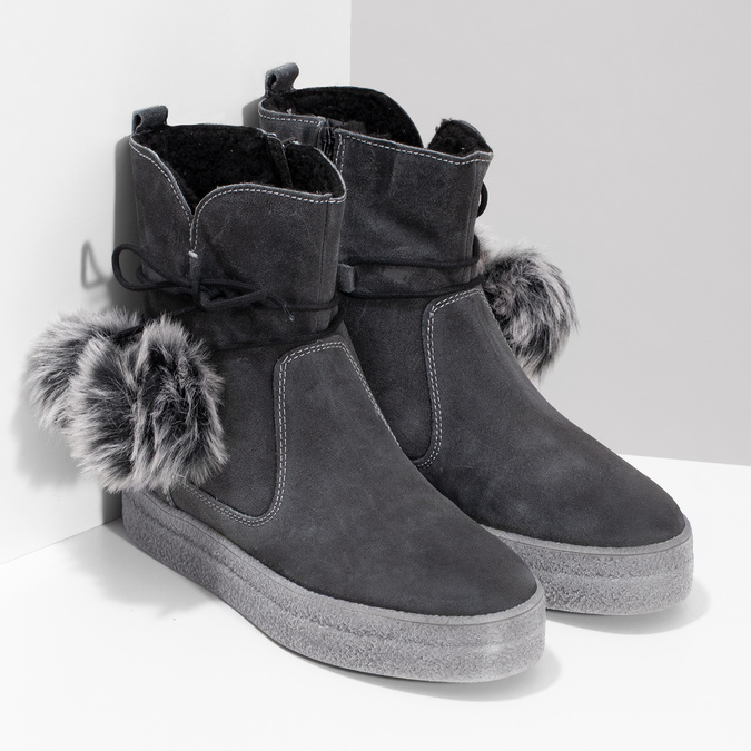 Šedá dámská kožená zimní obuv weinbrenner, šedá, 596-2749 - 26