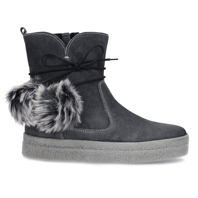 Šedá dámská kožená zimní obuv weinbrenner, šedá, 596-2749 - 19