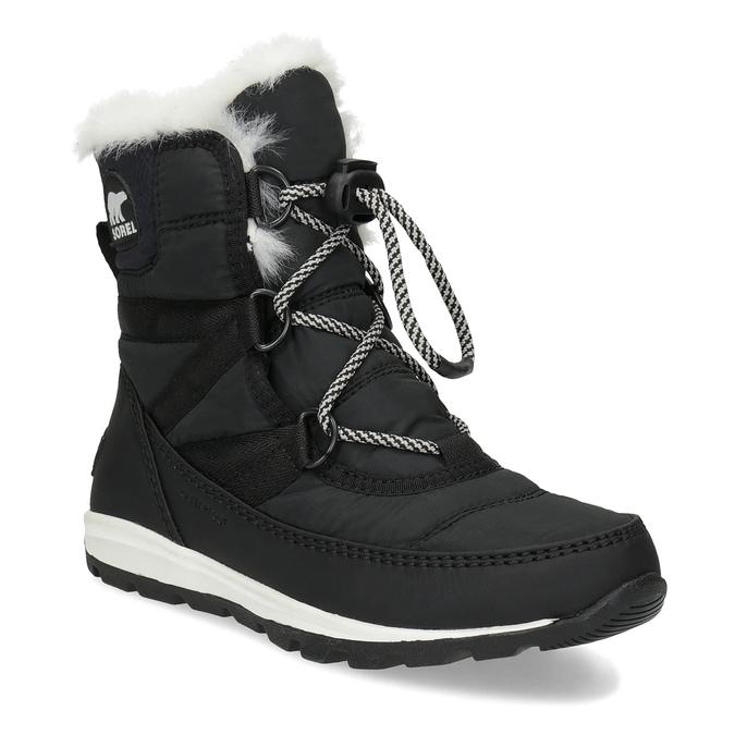 879ebe9b0bc Sorel Černé dětské sněhule s bílým kožíškem - Děti