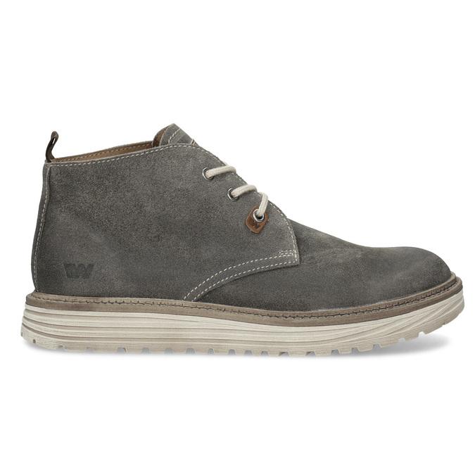 Pánská kotníčková obuv z broušené kůže weinbrenner, šedá, 896-2735 - 19