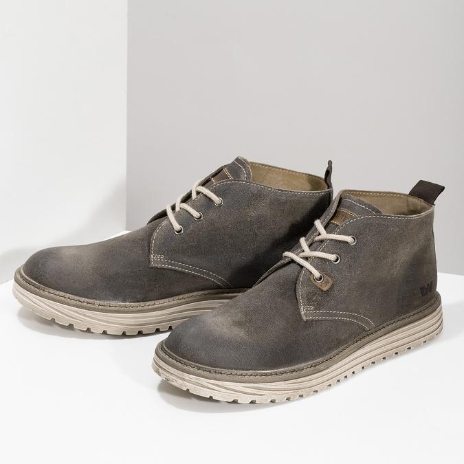 Pánská kotníčková obuv z broušené kůže weinbrenner, šedá, 896-2735 - 16
