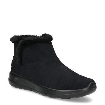 Kožená zimní obuv s kožíškem černá skechers, černá, 503-6124 - 13