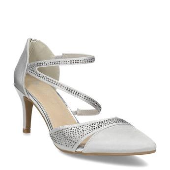 Stříbrné dámské sandály na jehlovém podpatku insolia, stříbrná, 729-1634 - 13