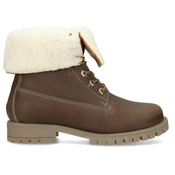 Dámská hnědá kožená zimní obuv weinbrenner, hnědá, 596-3743 - 19