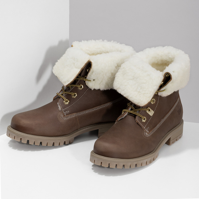 Dámská hnědá kožená zimní obuv weinbrenner, hnědá, 596-3743 - 16