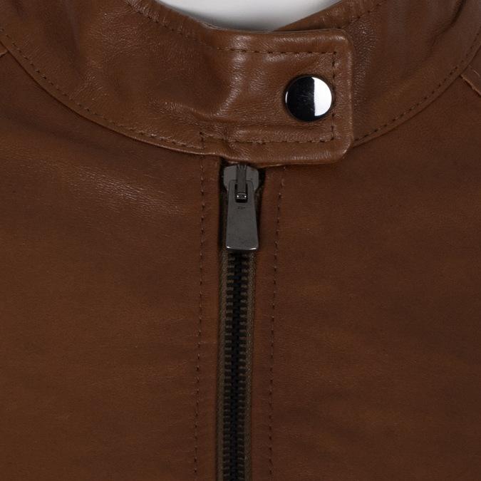 Dámská kožená hnědá bunda se stojáčkem bata, hnědá, 974-3106 - 16