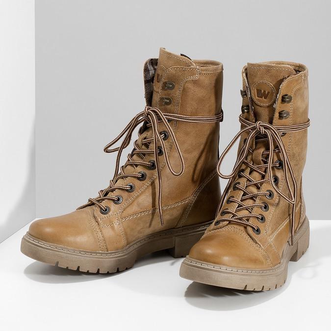Světle hnědá dámská kožená obuv weinbrenner, hnědá, 596-3758 - 16