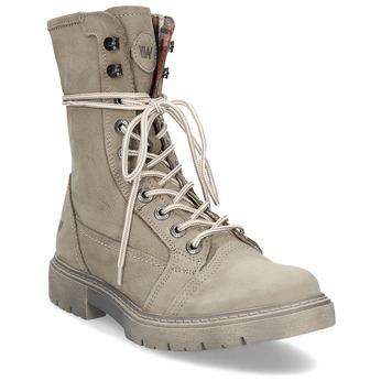 Béžová kožená dámská obuv vysoká weinbrenner, béžová, 596-8746 - 13
