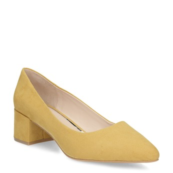 Žluté dámské lodičky na stabilním podpatku bata-red-label, žlutá, 629-8655 - 13