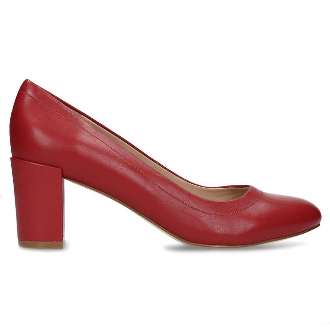 Kožené červené lodičky na stabilním podpatku insolia, červená, 624-5646 - 19