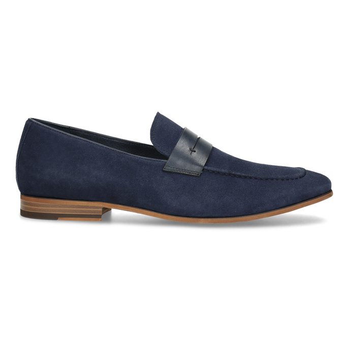 Modré mokasíny z broušené kůže bata, modrá, 813-9600 - 19