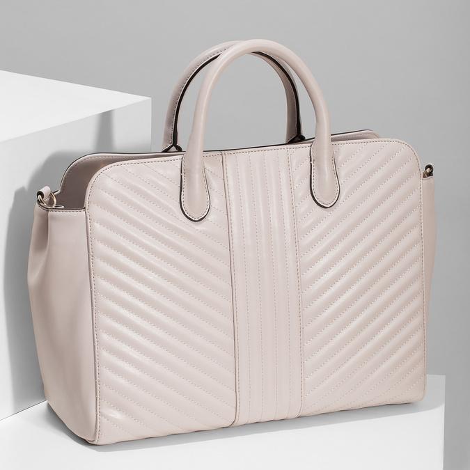 Růžová dámská kabelka s prošitím bata-red-label, růžová, 961-5950 - 17