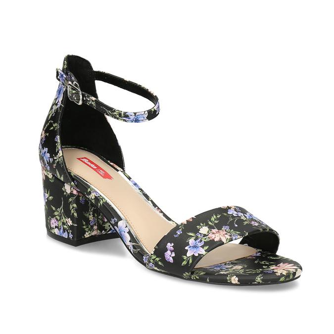 3d0e9fb77 Černé sandály na podpatku s květinovým vzorem bata-red-label, černá,  vícebarevné