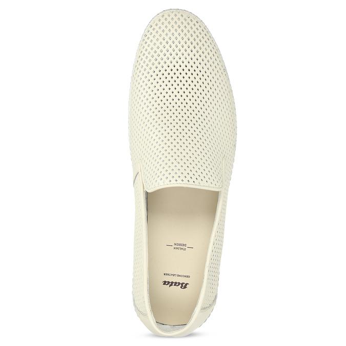 Bílé kožené pánské Loafers bata, bílá, 834-1627 - 17