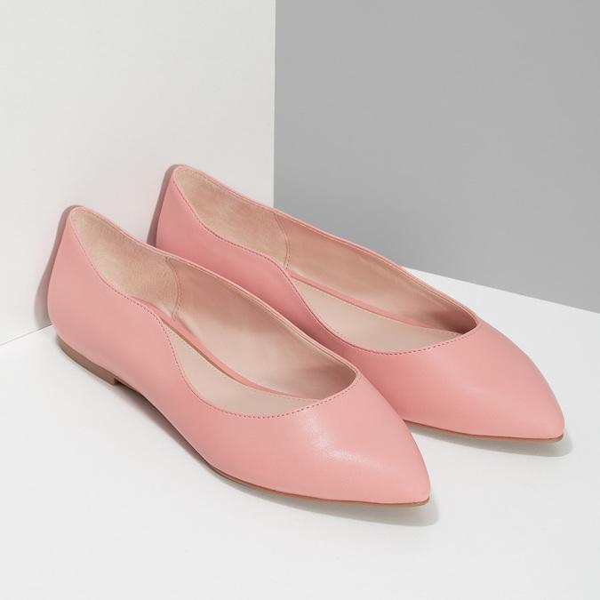 Dámské baleríny do špičky růžové bata-red-label, růžová, 521-5644 - 26