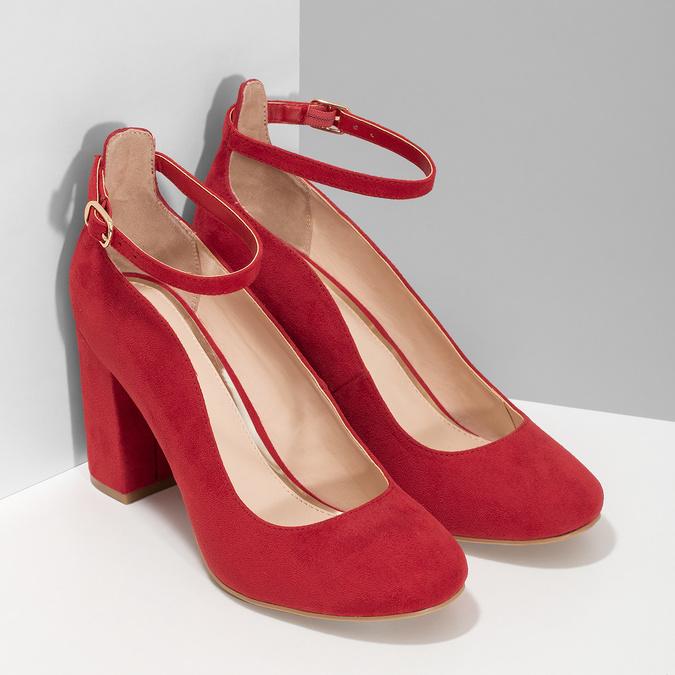 Červené dámské lodičky na stabilním podpatku bata-red-label, červená, 729-5635 - 26