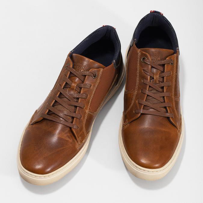 Hnědé kožené tenisky s pružením bata, hnědá, 846-3736 - 16