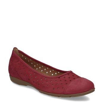 Červené dámské baleríny z broušené kůže gabor, červená, 516-5621 - 13
