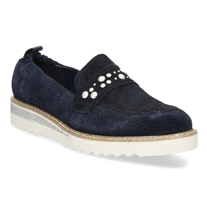 Kožené mokasíny s perličkami modré bata, modrá, 533-9605 - 13