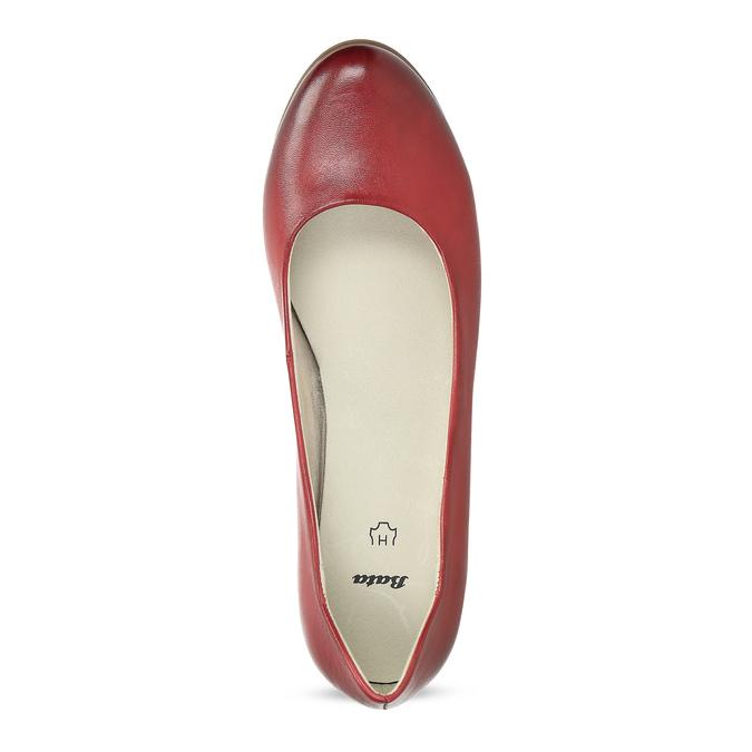 Červené kožené lodičky na stabilním podpatku bata, červená, 624-5649 - 17
