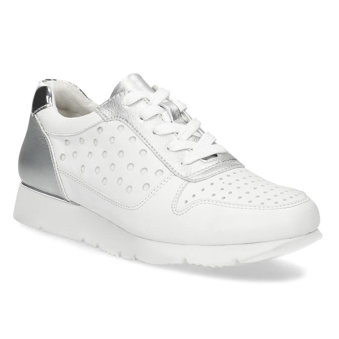 Baťa Bílo-stříbrné kožené dámské tenisky - Všechny boty  e99b1e658b