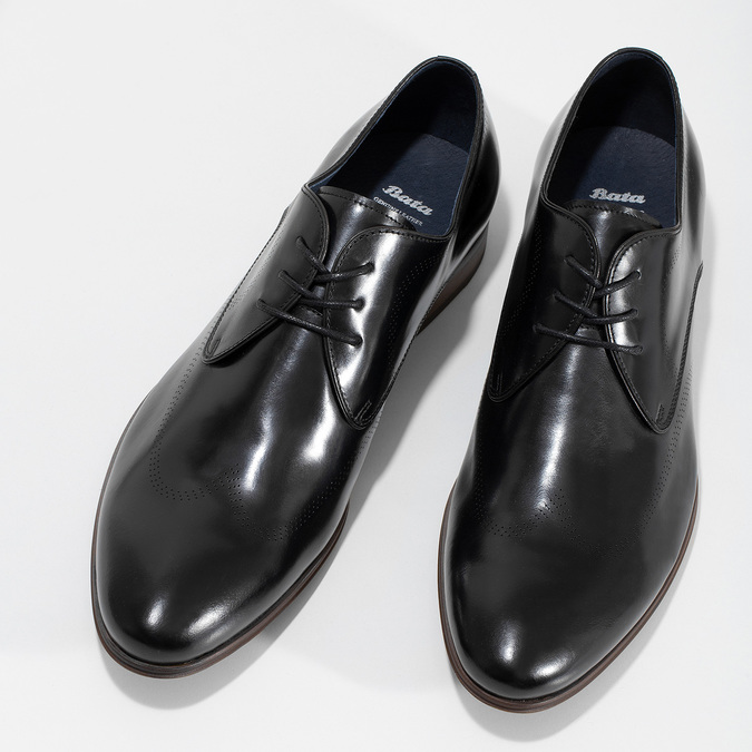 Černé kožené Derby polobotky s perforací bata, černá, 824-6833 - 16