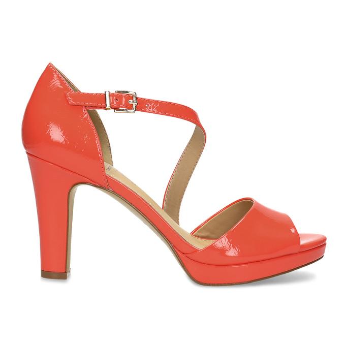 Korálové dámské sandály s asymetrickým páskem insolia, červená, 761-5600 - 19