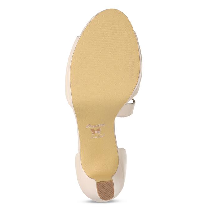 Tělové kožené sandály s asymetrickým páskem insolia, béžová, 764-8600 - 18