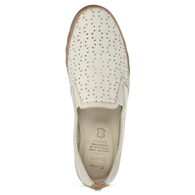 Béžová kožená Slip-on obuv s perforací comfit, béžová, 516-8614 - 17