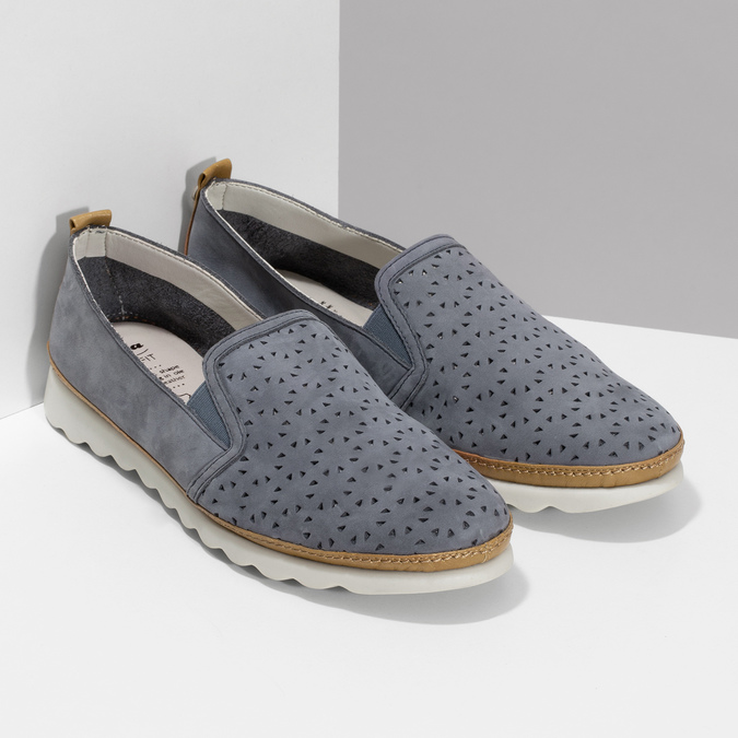 Dámská kožená Slip-on obuv s perforací comfit, modrá, 516-9614 - 26