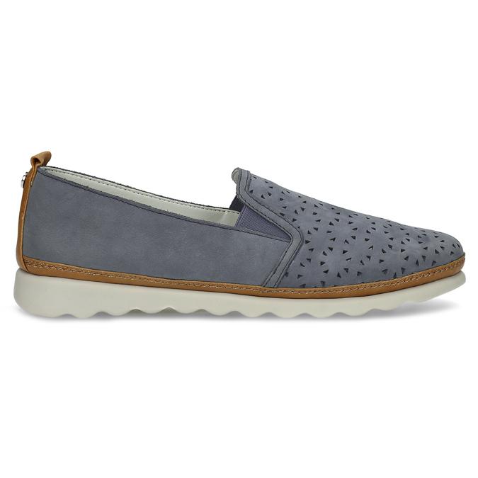 Dámská kožená Slip-on obuv s perforací comfit, modrá, 516-9614 - 19
