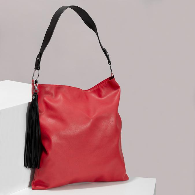 Červená Hobo kabelka s černými detaily bata, červená, 961-5935 - 17