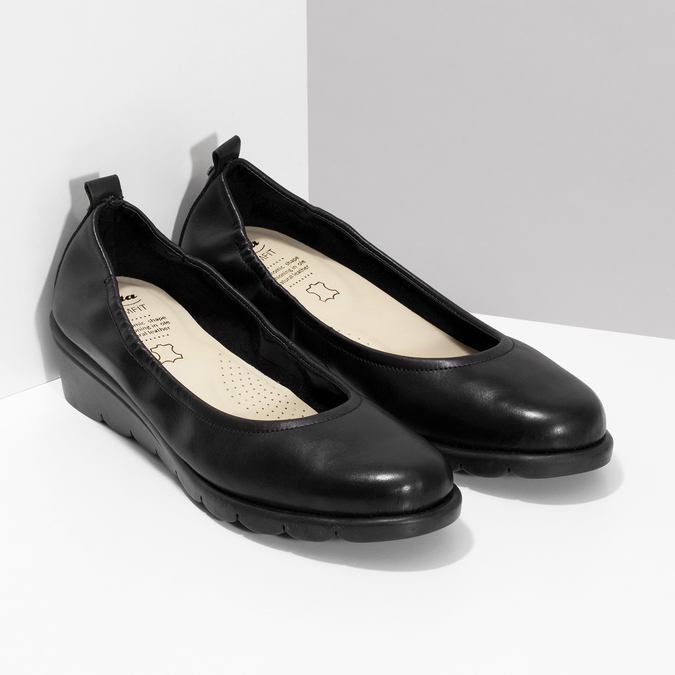 Kožené černé lodičky s výraznou podešví comfit, černá, 624-6618 - 26