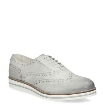 Šedé kožené Oxford polobotky bata, šedá, 546-2620 - 13