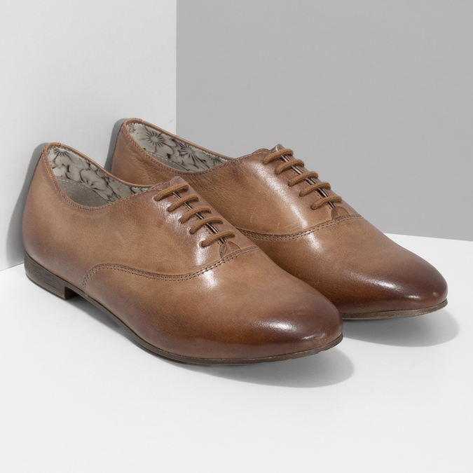 Dámské hnědé kožené polobotky bata, hnědá, 544-4603 - 26