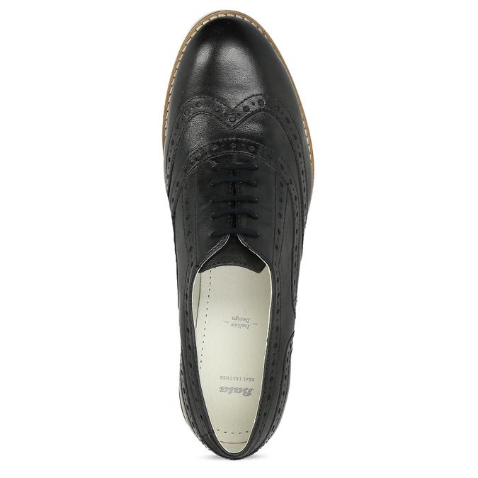 Dámské kožené Oxford polobotky černé bata, černá, 546-6620 - 17