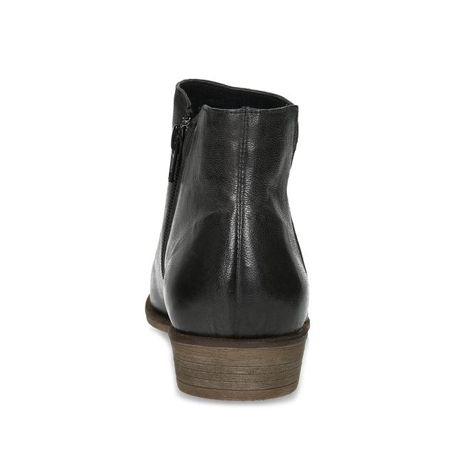 Černé kožené kotníčkové kozačky bata, černá, 526-6666 - 15