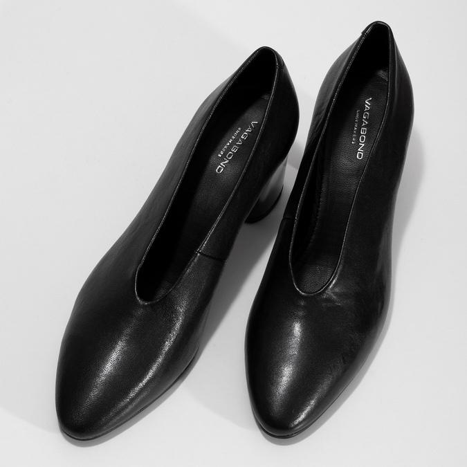 Kožené černé lodičky na stabilním podpatku vagabond, černá, 724-6094 - 16