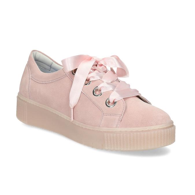 Dámské kožené tenisky s mašlí růžové bata, růžová, 543-5600 - 13