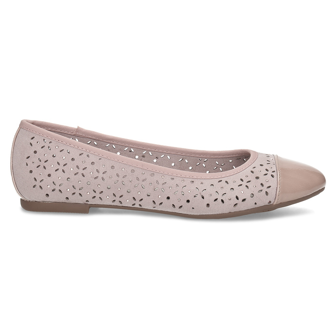 Růžové baleríny s kamínky bata, růžová, 529-8648 - 19