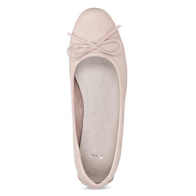 Růžové dámské baleríny s mašlí bata, růžová, 521-8651 - 17