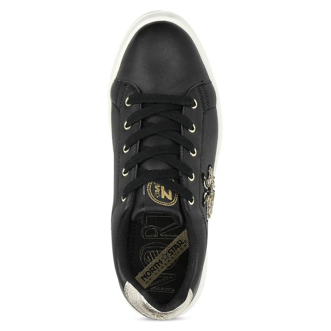 Černé dámské tenisky s ozdobou north-star, černá, 541-6607 - 17