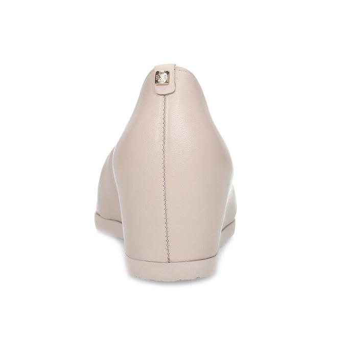Růžové kožené lodičky na klínku hogl, růžová, 624-5016 - 15