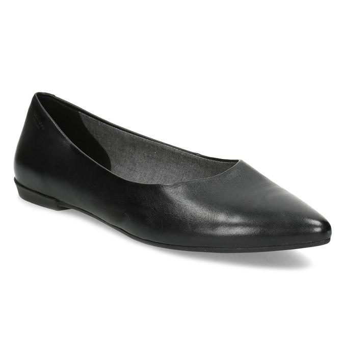 Černé kožené baleríny do špičky vagabond, černá, 524-6078 - 13