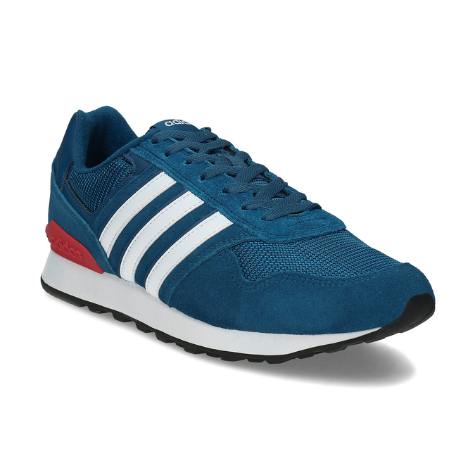 Kožené modré tenisky s červeným detailem adidas, modrá, 803-9302 - 13