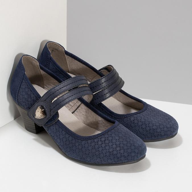 Tmavě modré lodičky z broušené kůže bata, modrá, 623-9646 - 26