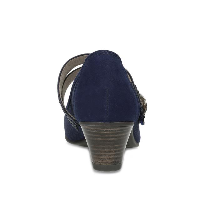 Tmavě modré lodičky z broušené kůže bata, modrá, 623-9646 - 15
